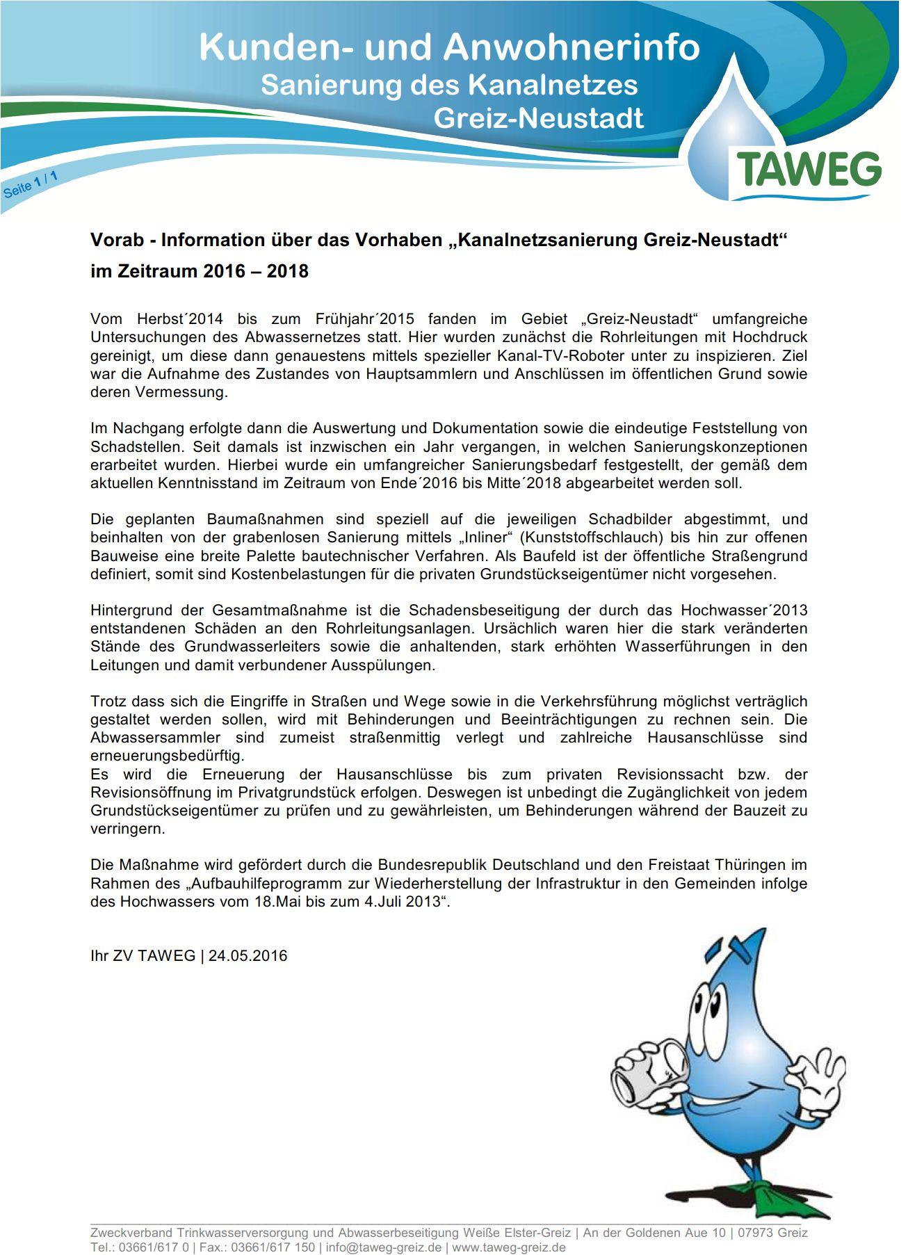 """Kundeninfo der TAWEG zur """"Kanalnetzsanierung Greiz-Neustadt"""""""
